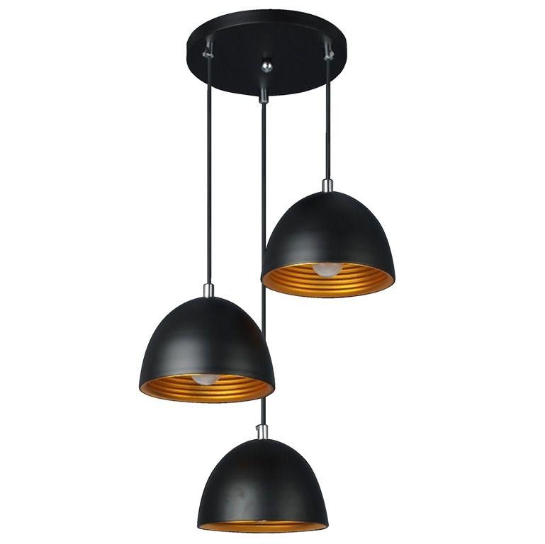 Luminária Pendente TRIO Alumínio Preto Fosco Ref: Lt-731-3 - Luxtek