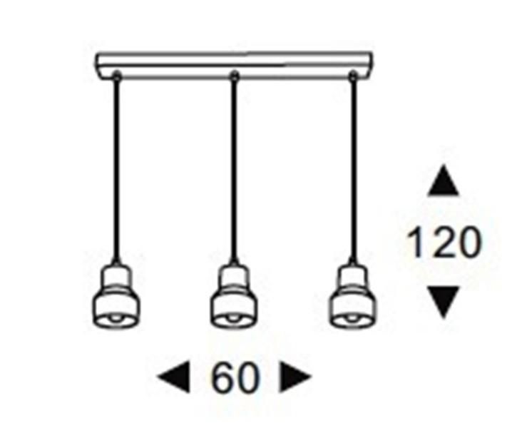 Luminária Pendente TRIO Linear Cimento queimado e Resina Ref: Lt-156CC-L