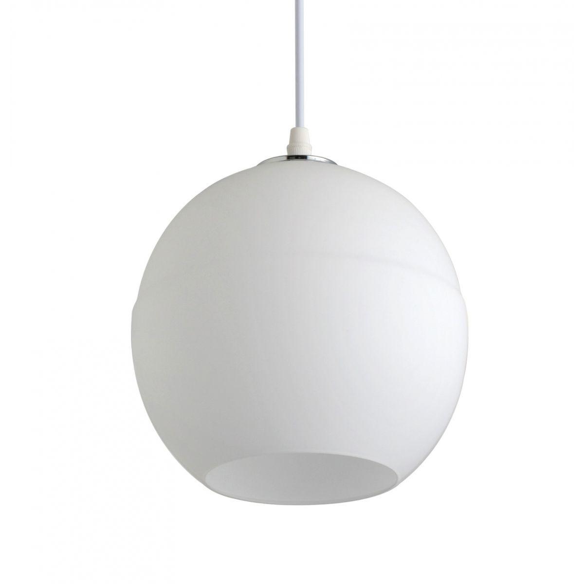 Luminária Pendente Vidro Branco Fosco Ref: Lt-222-C - Luxtek
