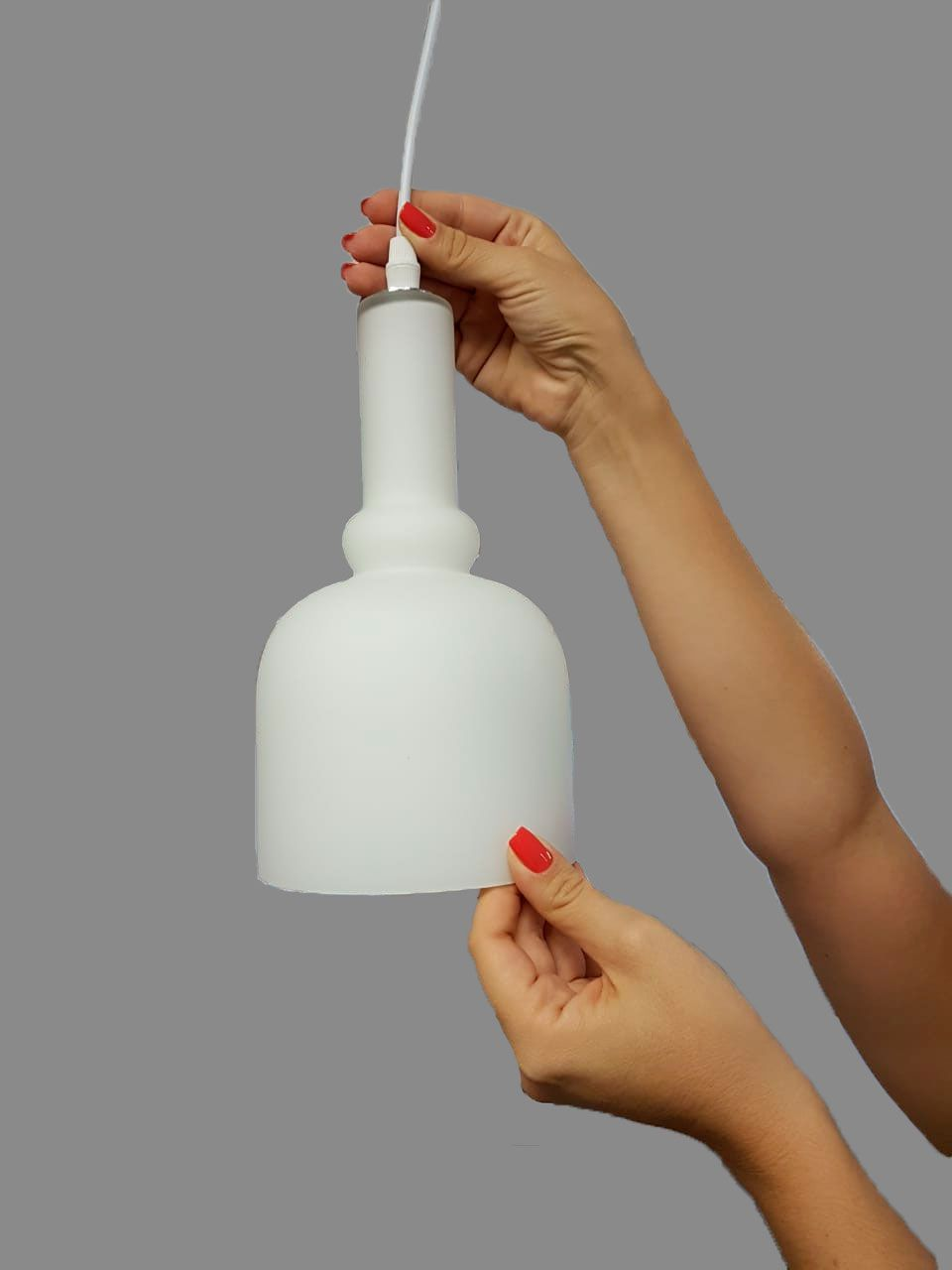 Luminária Pendente Vidro Branco Fosco Ref: Lt-222-A - Luxtek