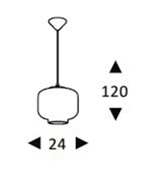 Luminária Pendente Vidro Fumê  Soprano  Ref: Lt-292V-A - Luxtek