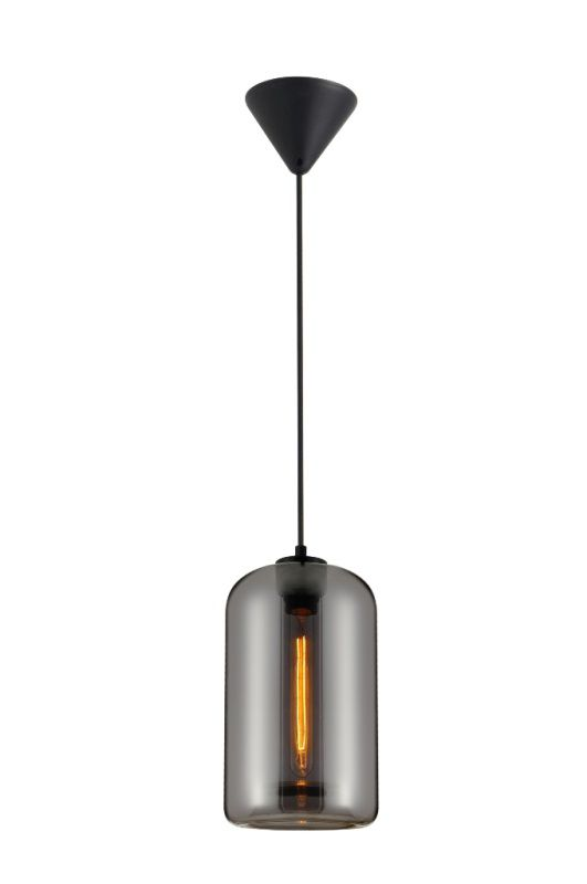 Luminária Pendente Vidro Fumê Soprano Ref: Lt-292V-B - Luxtek