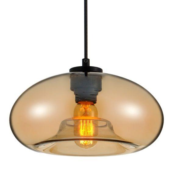 Luminária Pendente Vidro Âmbar Soprano Ref: Lt-292V-D - Luxtek