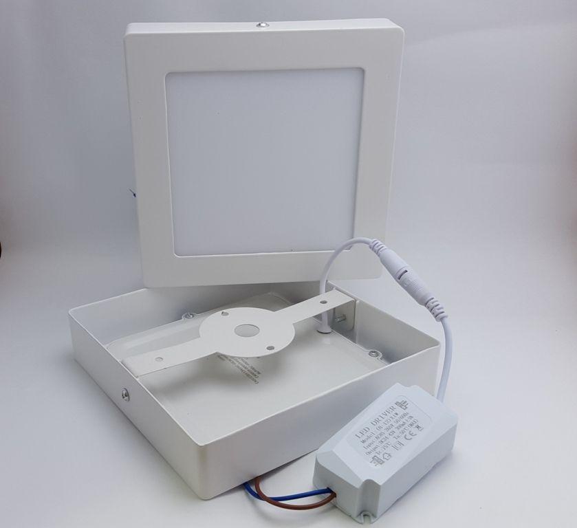 Luminária Plafon LED 12w Sobrepor Branco Frio Redonda / Quadrada - LUXTEK