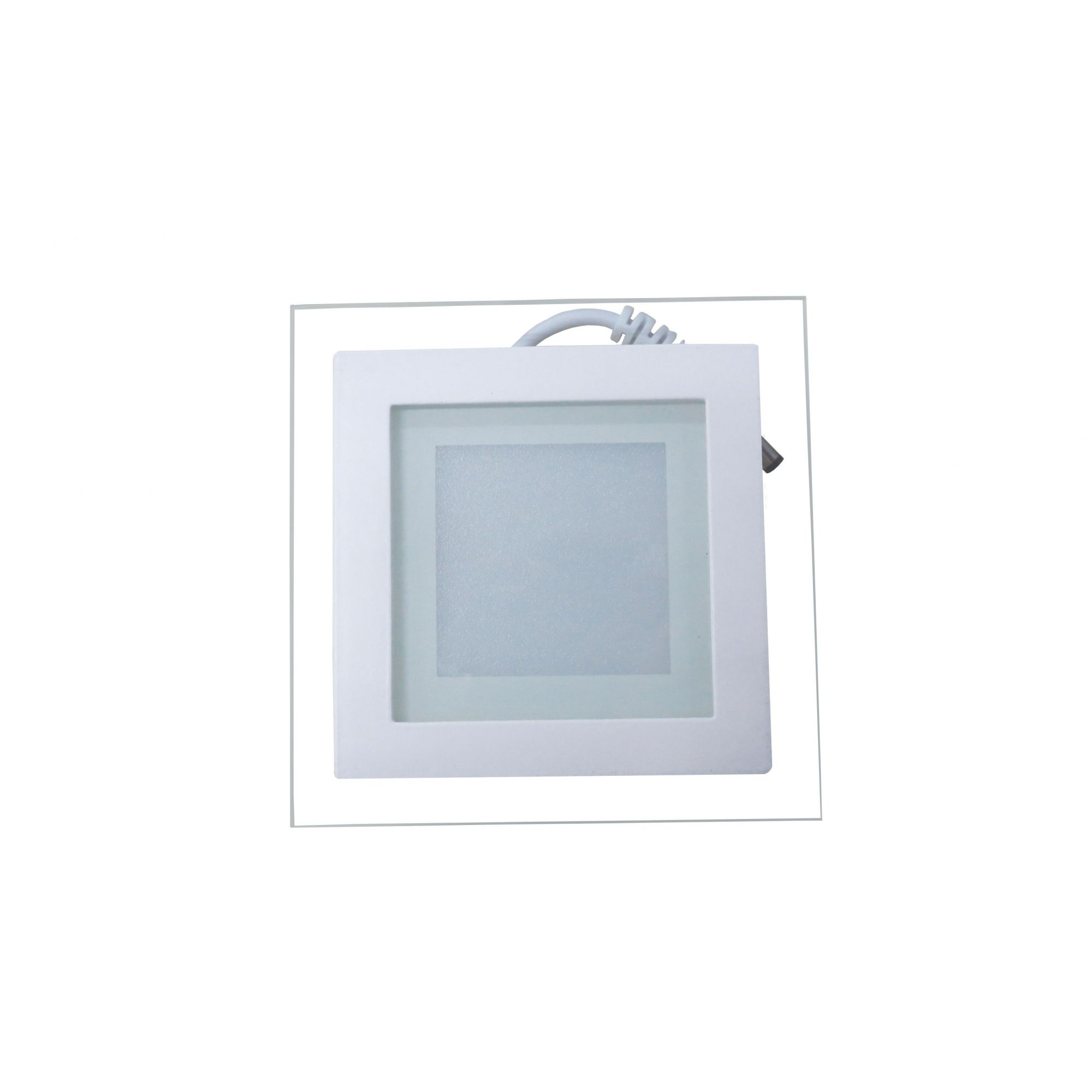 Luminária Plafon LED 6w de Vidro Embutir Branco Frio Redonda - Luxtek