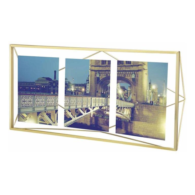 Porta Retrato PRISMA Multi 3 fotos Display Dourado - Umbra