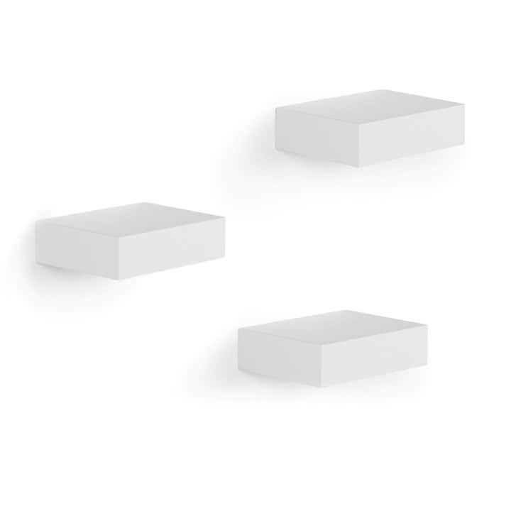 Prateleira Showcase Flutuante Branca Conjunto com 3 - Umbra