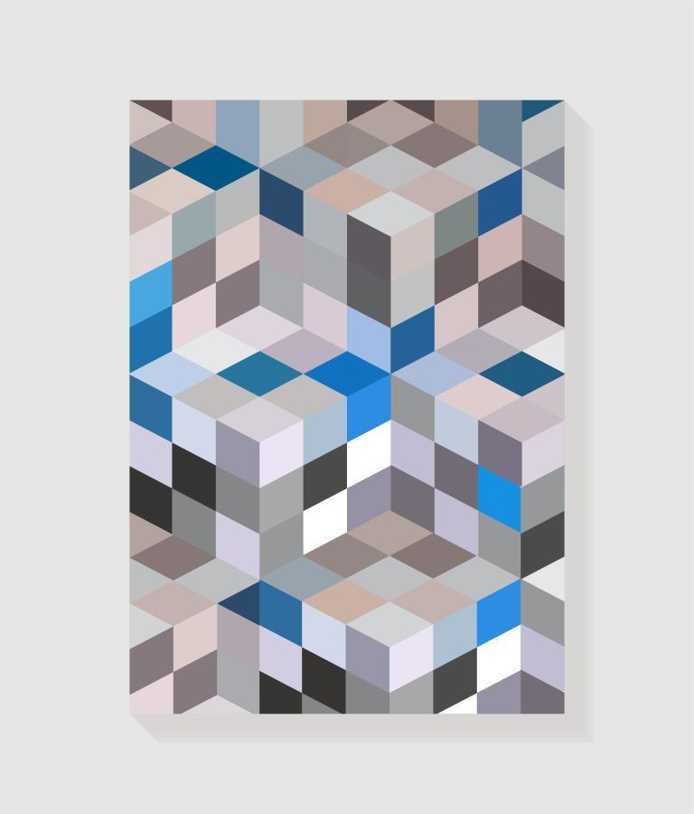 Quadro Decorativo em Canvas Geométrico Azul e Cinza