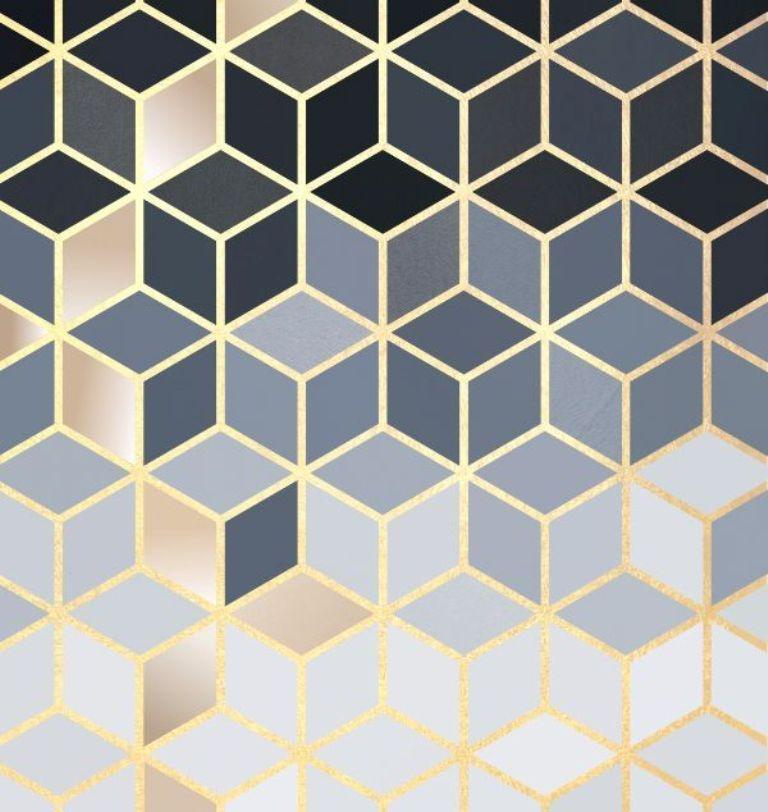 Quadro Decorativo em Canvas Geométrico grey gold