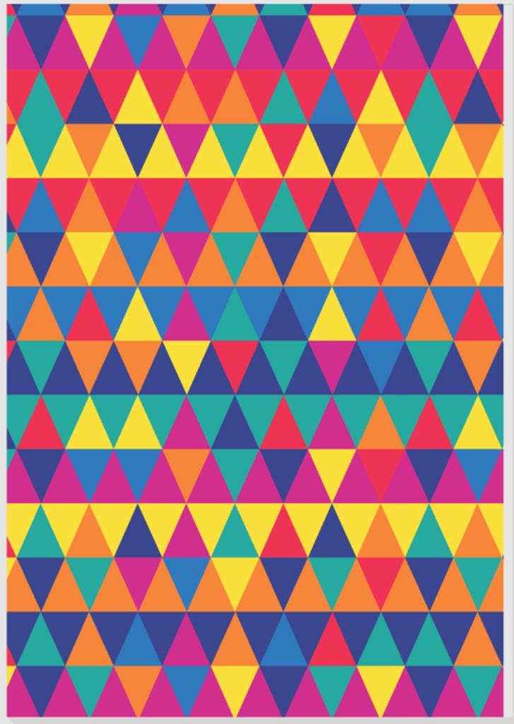 Quadro Decorativo em Canvas Tri Colors Geométrico