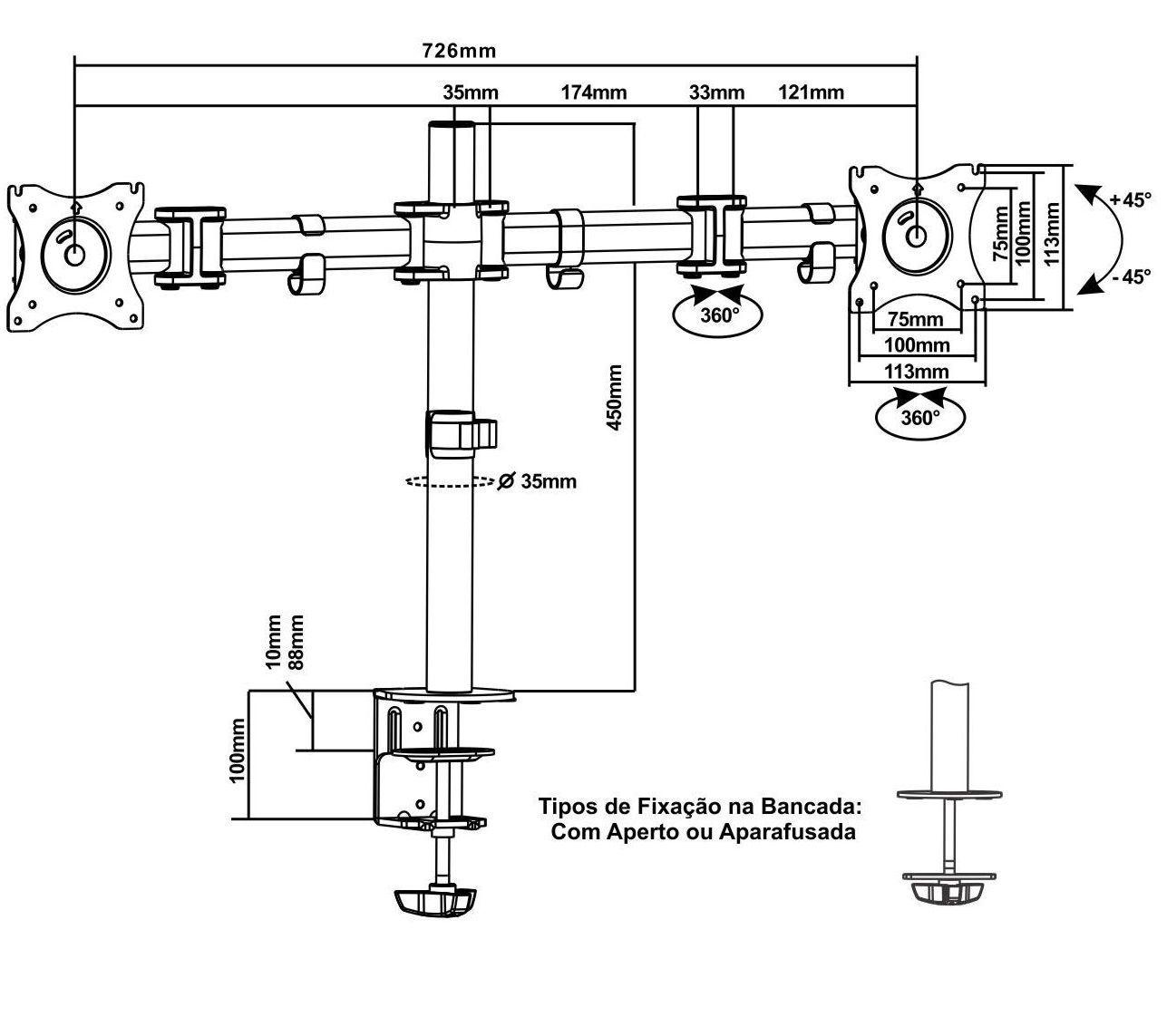 "Suporte Articulado Mesa Para 2 Monitores De 13 "" A 27 "" FT-726m2 - FIXATEK"