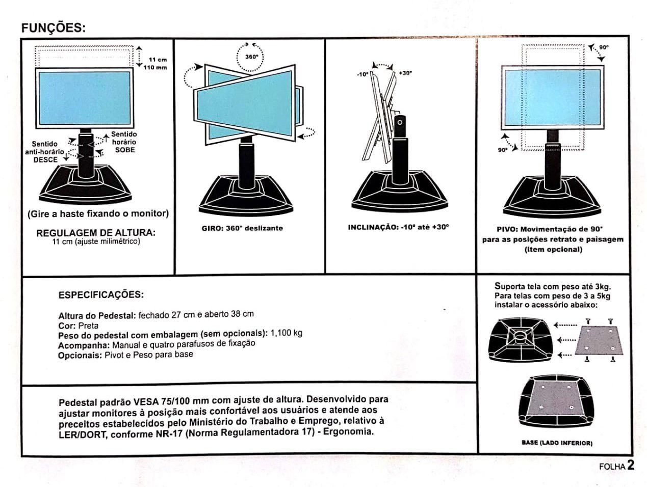 Suporte de Mesa para Monitor com Regulagem de Altura - P300