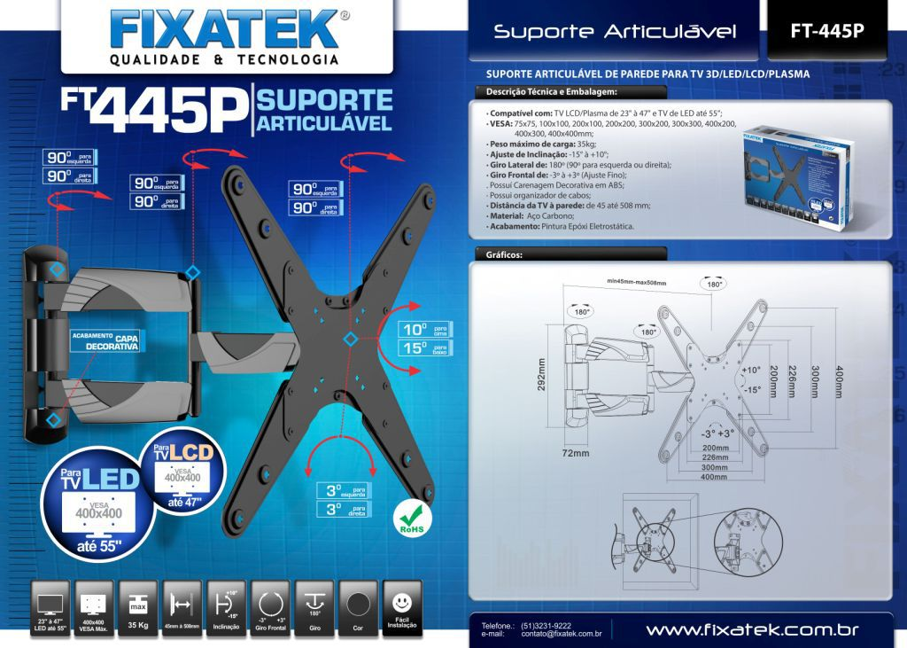 Suporte De TV Articulado e Inclinável para LED  FT-445P  FIXATEK