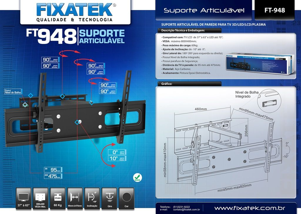 "Suporte de TV LCD / LED Articulado 37-70"" FT-948 FIXATEK"