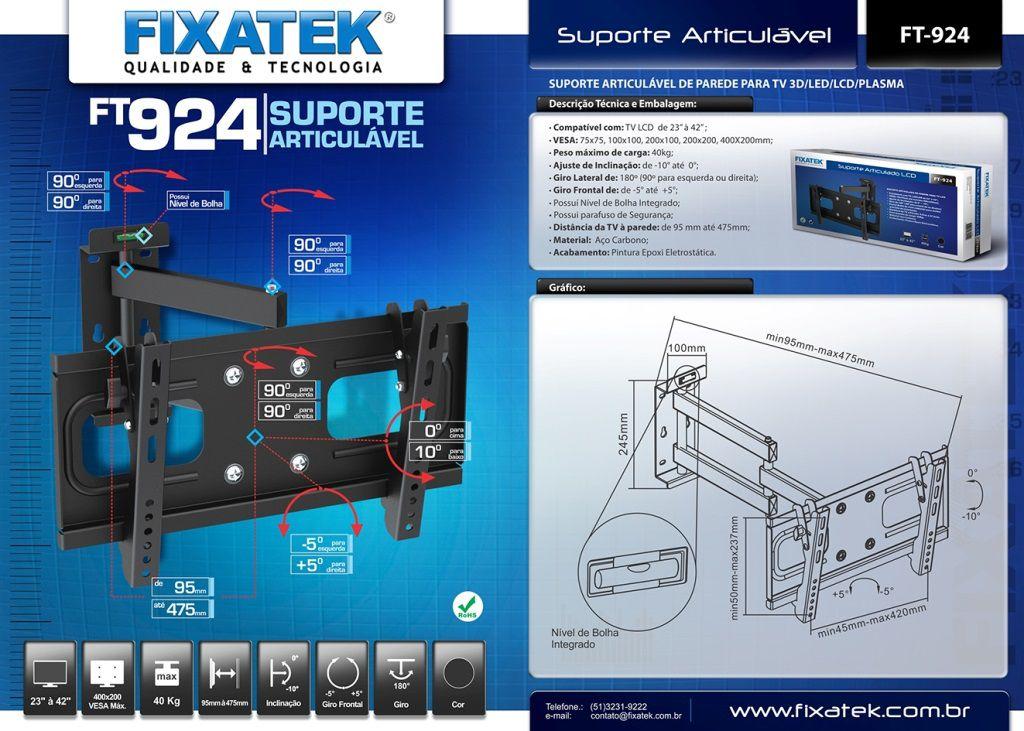 Suporte de TV LCD / LED Articulado FT-924 FIXATEK