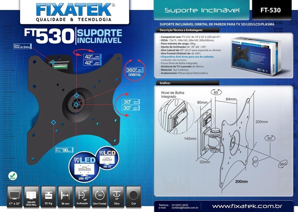 "Suporte de TV LED até 42"" e LCD / Plasma 26-32"" FT-530 FIXATEK"