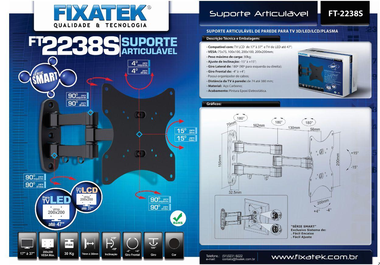 "Suporte de TV LED até 47"" e LCD/Plasma 26-32"" FT-2238S FIXATEK"