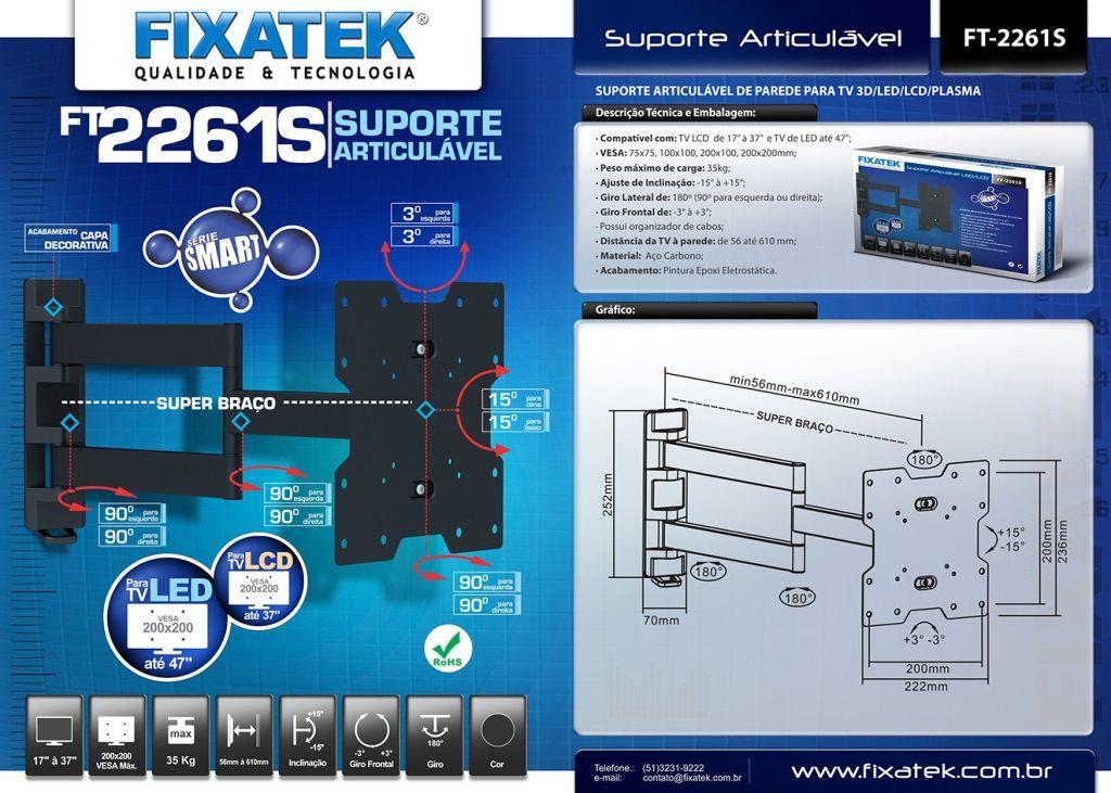 "Suporte de TV LED até 47"" e LCD/Plasma 26-32"" FT-2261S FIXATEK"