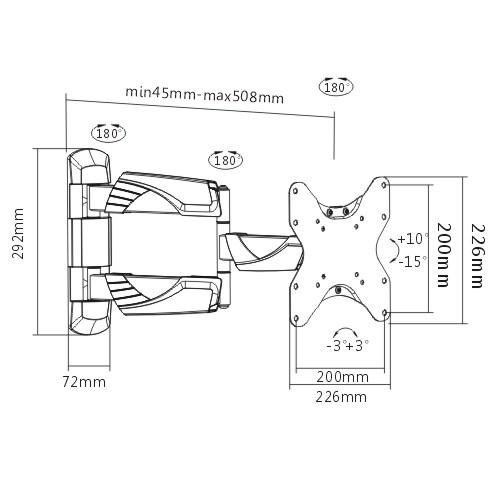 Suporte De TV Articulado e Inclinável para LED FT-225P FIXATEK