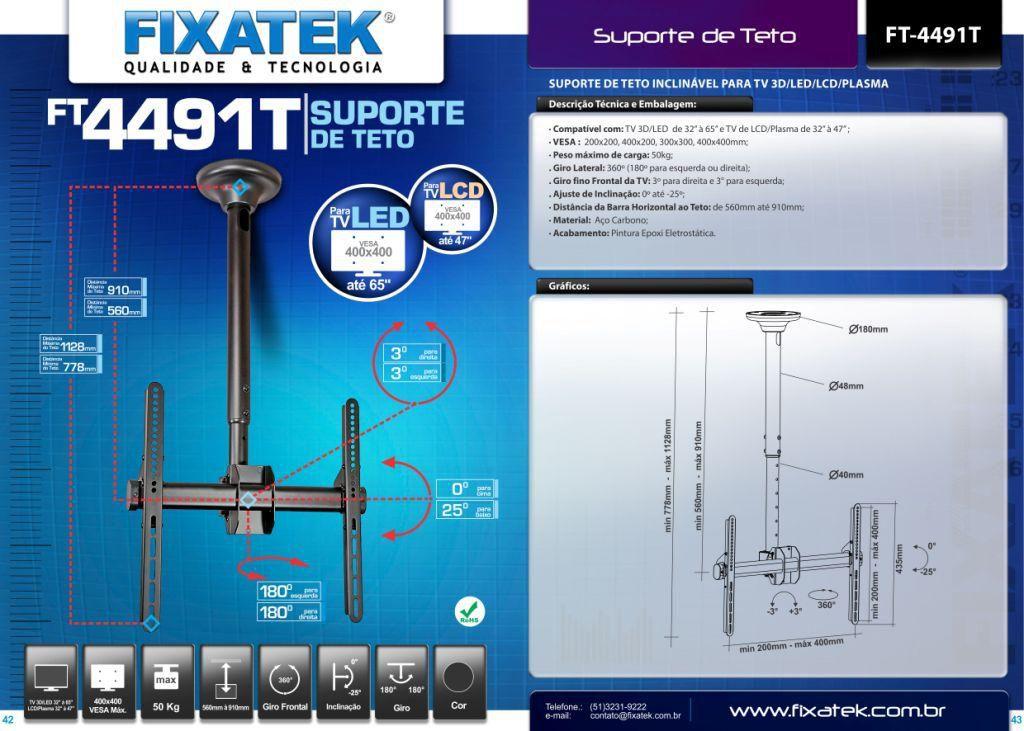 "Suporte de TV LED até 55"" e LCD / Plasma 32-47"" de Teto FT-4491T - FIXATEK"