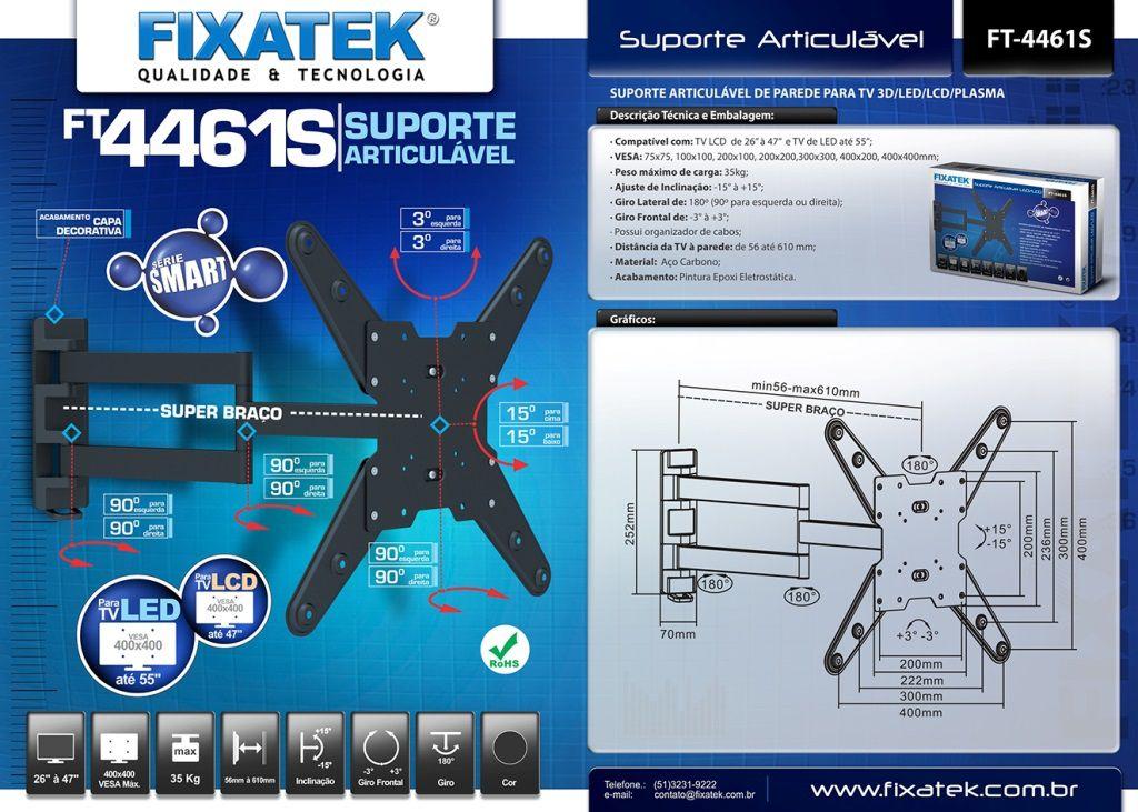 "Suporte de TV LED até 55"" e LCD/Plasma 32-47"" FT-4461S FIXATEK"