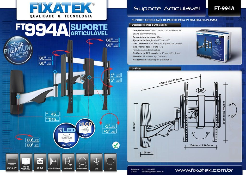 """Suporte de TV LED até 55"""" e LCD/Plasma 32- 47''  FT-994A FIXATEK"""