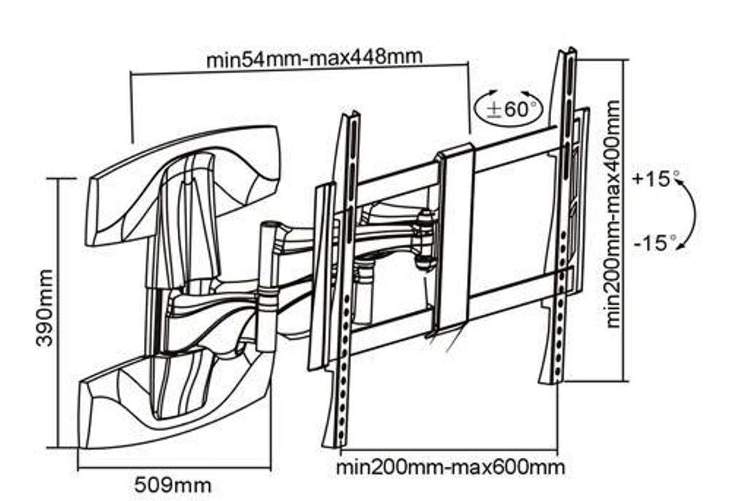 """Suporte  Articulado de TV LED até 55"""" e LCD / Plasma 32-47"""" FT-998A FIXATEK"""