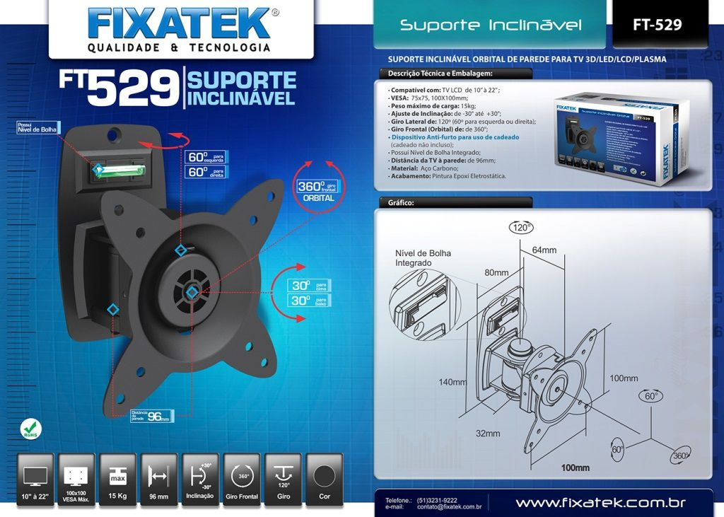 "Suporte de TV LED/LCD 10-22"" FT-529 FIXATEK"