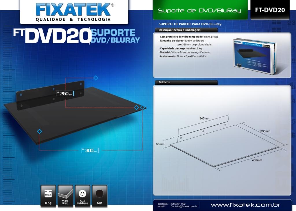 Suporte Fixo de Parede para DVD20 / Blu-Ray / Karaokê / Aparelhos AV (Áudio e Vídeo) FIXATEK