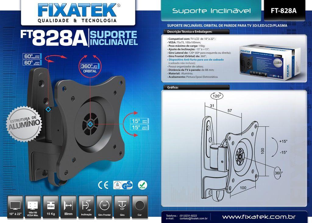 """Suporte Inclinável para TV LED até 26"""" FT-828A FIXATEK"""
