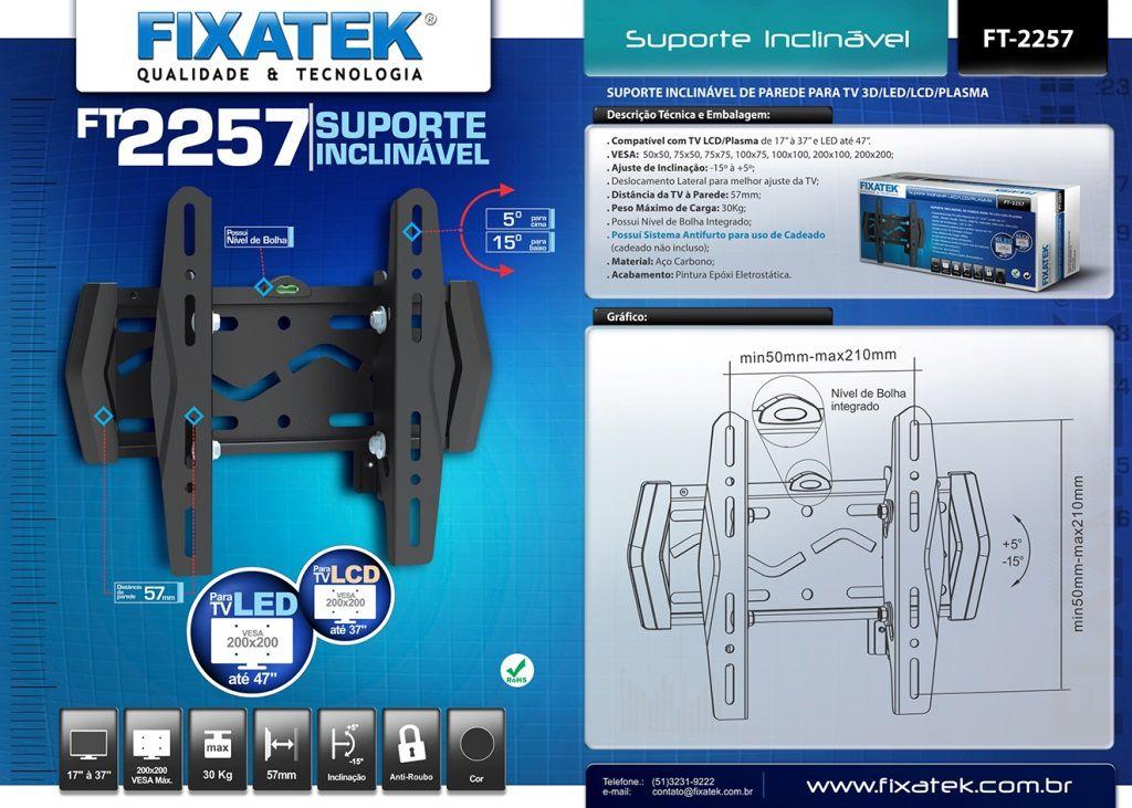 """Suporte Inclinável para TV LED até 46"""" FT-2257 FIXATEK"""