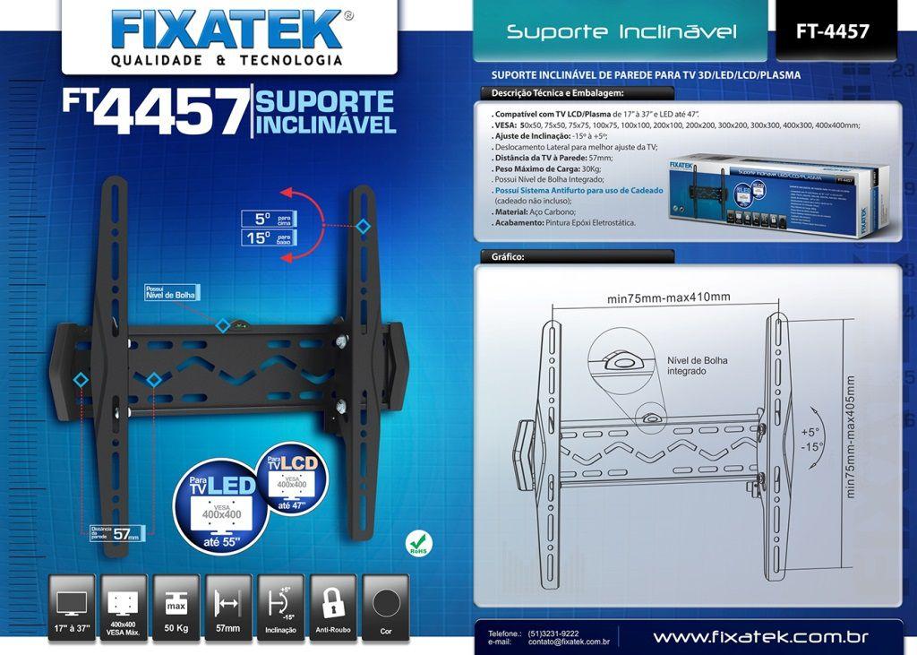 """Suporte Inclinável para TV LED até 55"""" FT-4457 FIXATEK"""