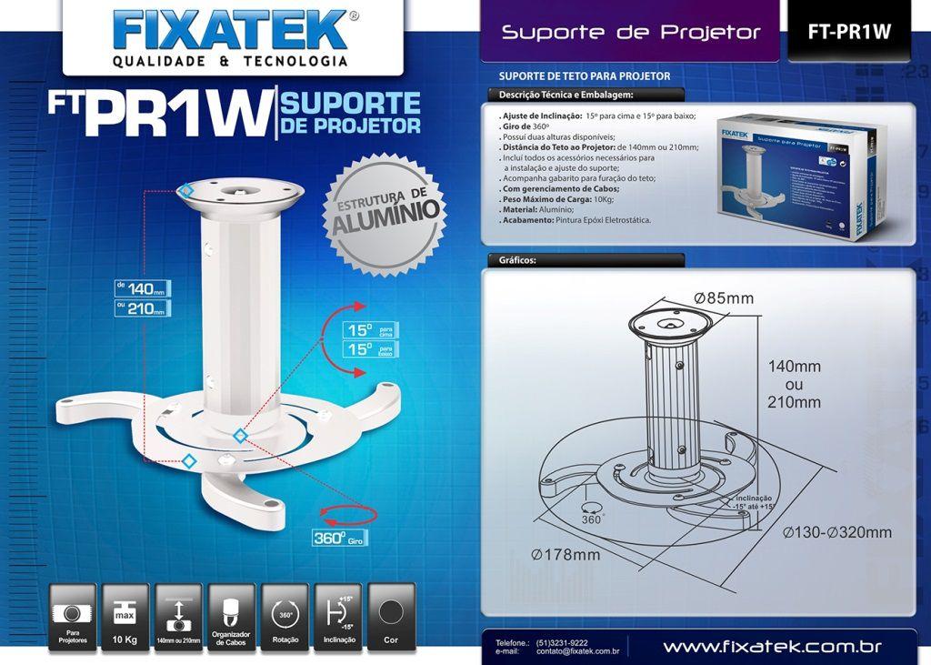 Suporte para Projetor Branco FT-PR1W FIXATEK