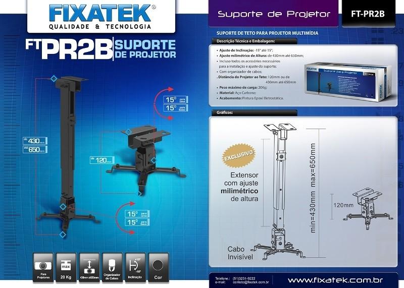 Suporte P/ Projetor Preto FT-PR2B FIXATEK