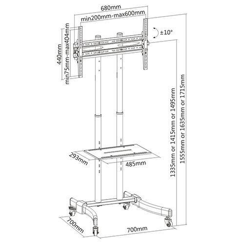 """Suporte Pedestal com rodas e travas para TV LCD/LED, Para tela de 37""""-70"""" FT-64EB - FIXATEK"""