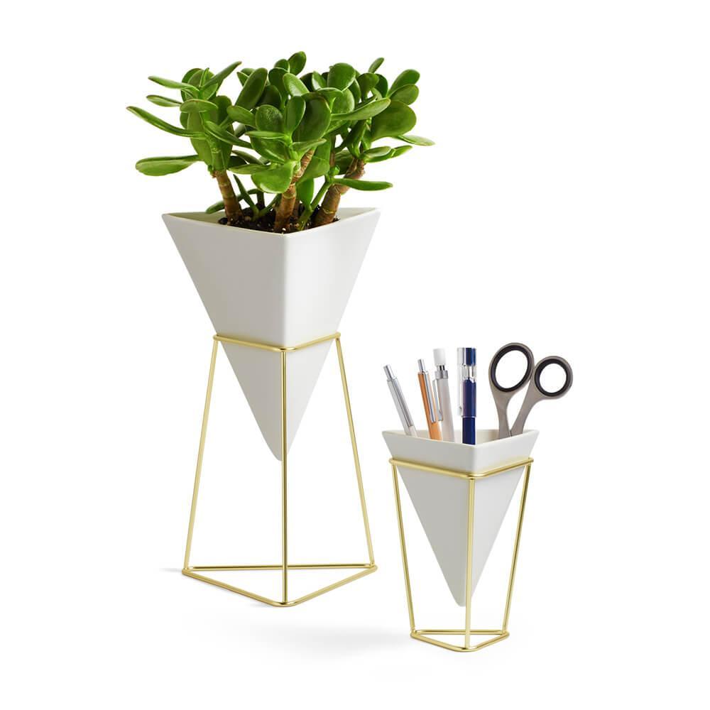 Vaso de mesa Trigg conj. com (2 peças) branco - Umbra