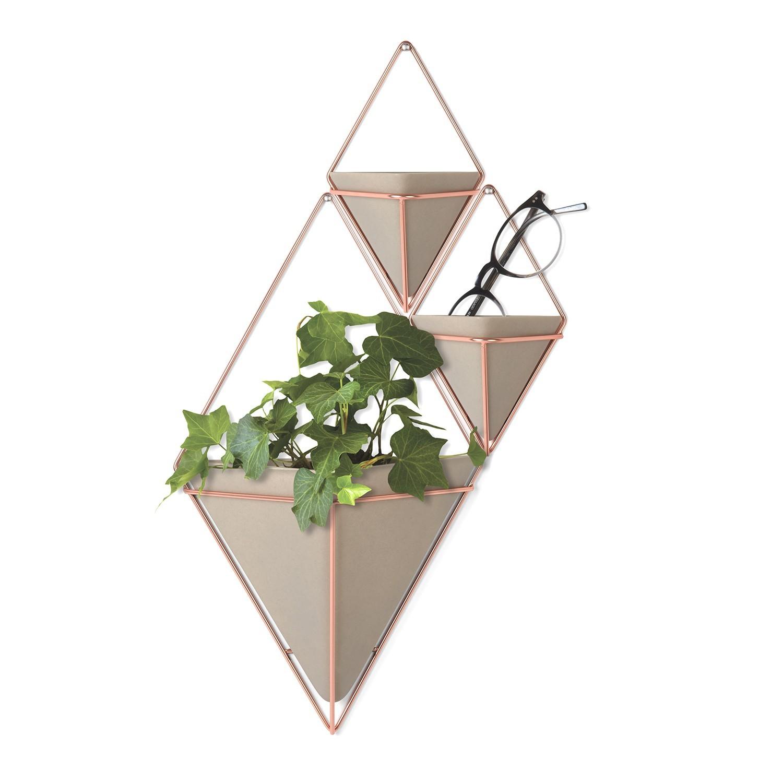 Vaso de parede Trigg (2 un) pequeno Concreto/Cobre - UMBRA