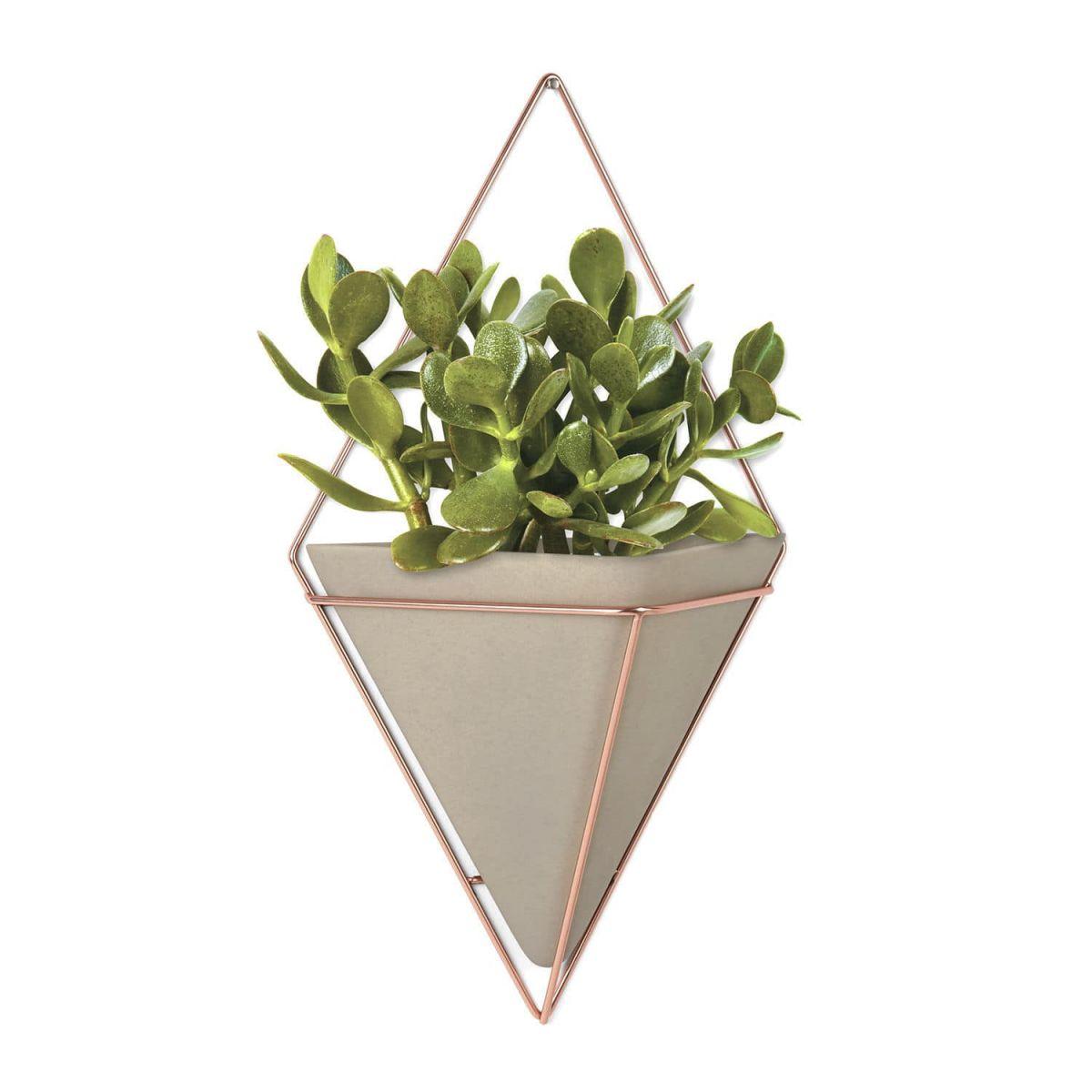 Vaso de Parede Trigg Grande  - Concreto/Cobre - Umbra
