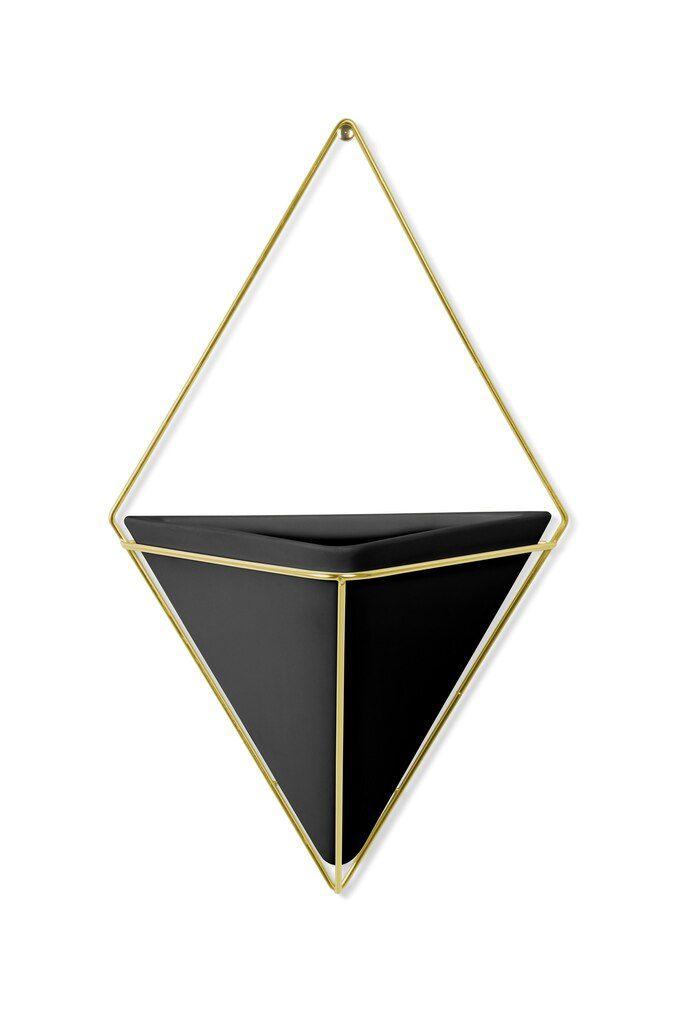 Vaso de parede Trigg Grande Preto / Dourado - Umbra