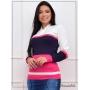 Blusa de Tricot Azul e Pink