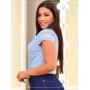 Blusa Feminina Azul Laço