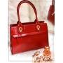 Bolsa Quadrada Vermelha  com Dourada Luxo