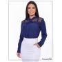 Camisa Feminina Detalhe no Busto Azul Marinho