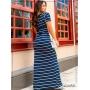 Vestido Longo Listrado Azul Marinho  - Boutique K