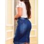 Saia Jeans com Botões Frontal Destroyed