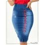 Saia Jeans Secretária com Detalhes em Fita Trançada