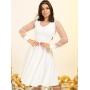 Vestido Branco Lady Like com Tule - Amanda Bella