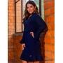 Vestido Elegance  Azul Marinho Manga Flare - Boutique K