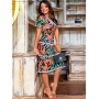 Vestido Estampado com Guipir Fundo Preto - Boutique K