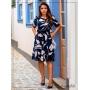 Vestido Estampado Soltinho Azul Marinho - Boutique K